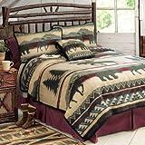 Cedar Run Fleece Cabin Blanket - Queen - Rustic Bedding Linens