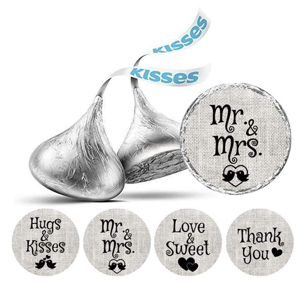 Darling Souvenir Wedding Theme Stickers Hersheys Kisses Candy Labels 190 Pcs Party Favor-Gray