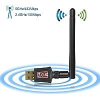 Zoweetek® WiFi Adaptador Receptor WiFi USB inalámbrico Dual Band AC600 WiFi 2.4GHz o 5Ghz /Compatible con Windows XP/7/8/8.1/Mac OS X 10.7-10.13