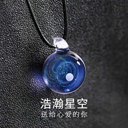 Generic Muzi_fsy_universe_Gem_ Star _glass_spheres_ couple necklace Pendant necklace Pendant chain clavicle _adjustable_length_ men _tide by Generic