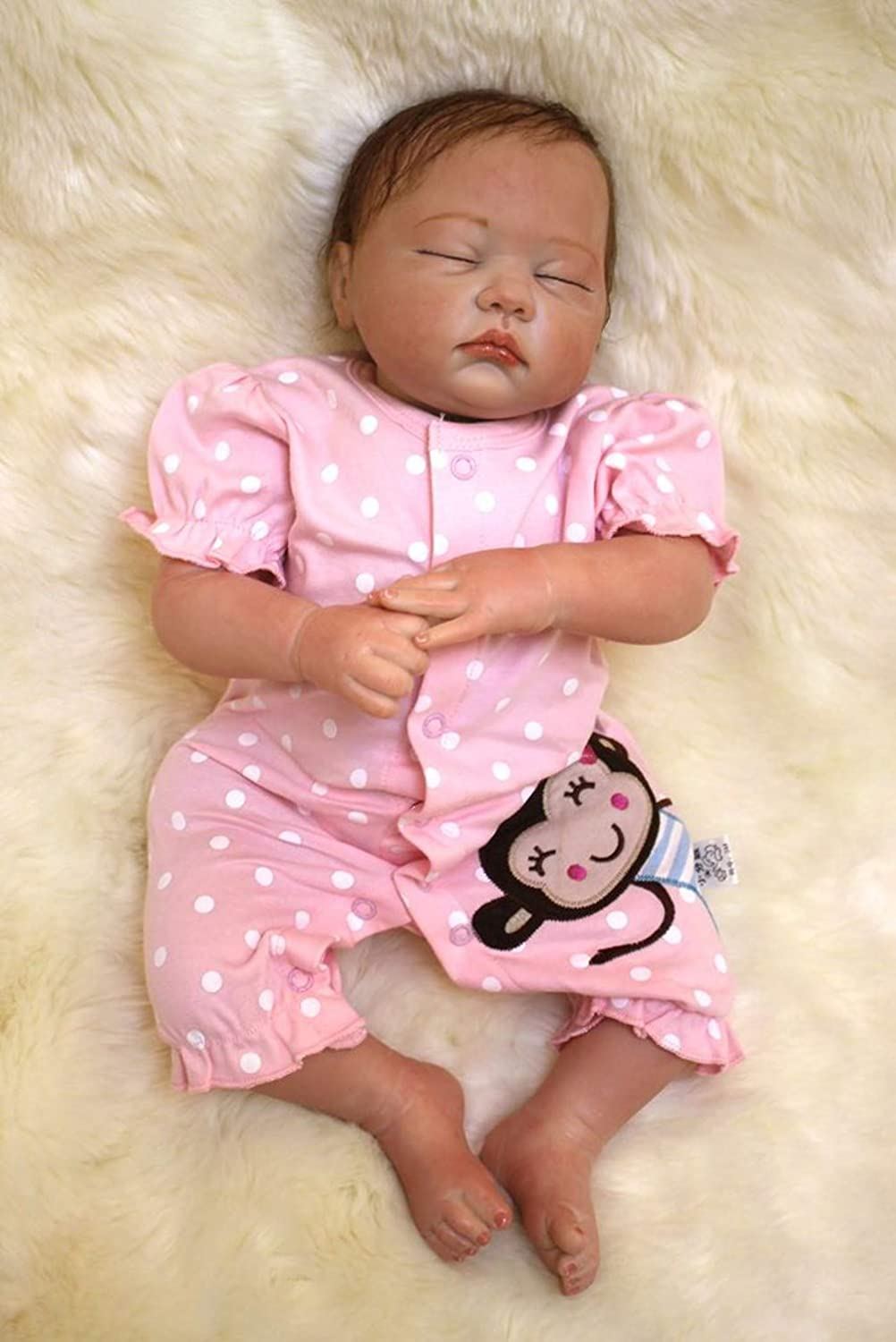 ZIYIUI 19 Inches 48 cm Reborn Dolls Looks Real Sleeping Baby Silicone Vinyl Toddler Girl Handmade Newborn Birthday Gift Kids Toys for age 3 +
