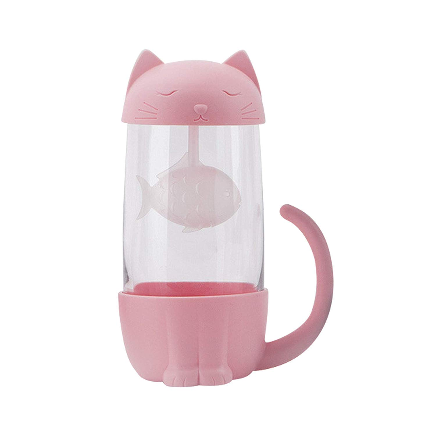 Novelty Cat Glass Tea Cup Water Coffee Bottle with Infuser Strainer Filter Ideal Christmas Birthday Gift 6.06 x 4.13 inch, 10 oz 300 ml Pink Txyk