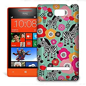 Phone Case For HTC 8S - Zebra Blossoms Green Snap-On Lightweight