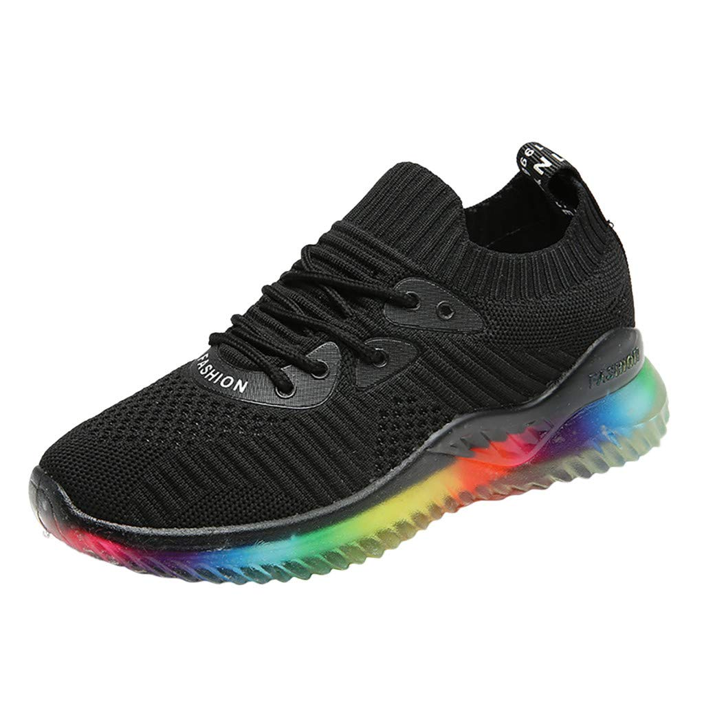 Women's Running Sneakers Casual Rainbow Jelly Soles Breathable Woven Shoes Summer Athletic Lightweight Walking Shoes (Black, US:7) by Cealu