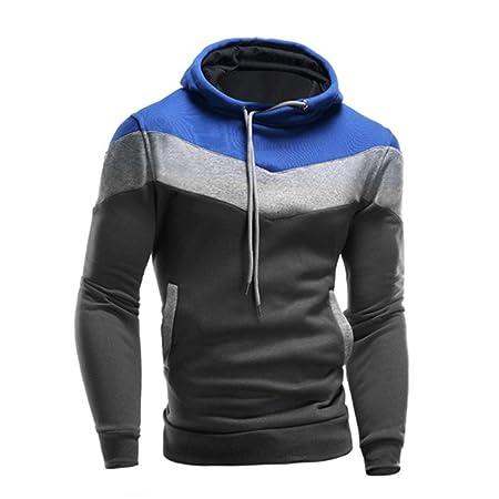 431437ad67a3 Hoodie Sweatshirt Herren Btruely Herbst Winter Lose Retro Männer Pullover  Langarm Outwear (L, Blau