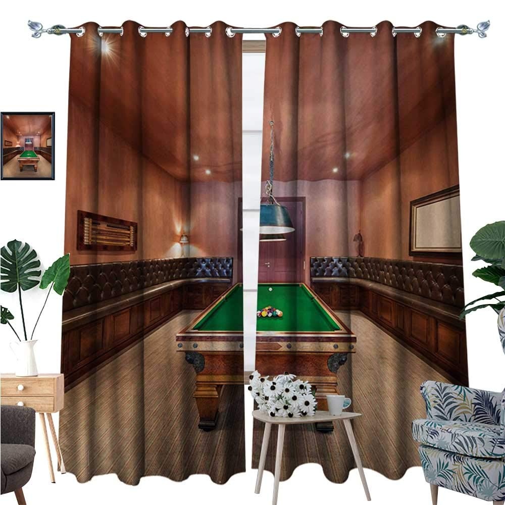 Modern Window Curtain Fabric Entertainment Room in Mansion Pool Table Billiard Lifestyle Photo Print Drapes for Living Room W84 x L96 Cinnamon Brown Green