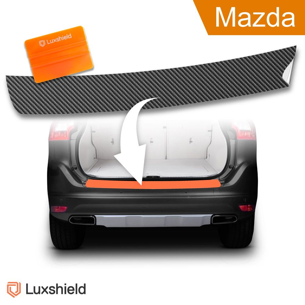 Luxshield Ladekantenschutz Folie inkl. Profi-Rakel - Mazda CX- 5 2. Gen KF – ab 2017 - Stoßstangenschutz, Kratzschutz, Lackschutzfolie - Carbon-Optik - selbstklebend