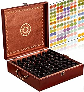 Beautiful Essential Oil Box - 69 Bottle With 2 Carry Handles - Holds 5-10-15-30ML 1oz 2oz 4oz & 10ml Rollers - Free Roller Bottle Opener & 192 EO Labels - Holds 24-30ml & 45-15ml