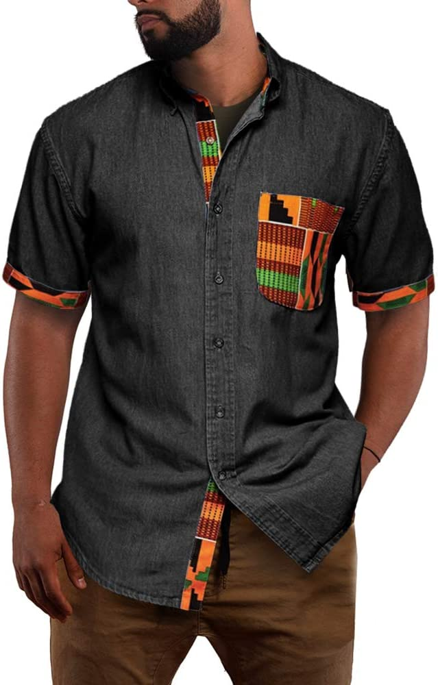 Fueri - Camiseta de manga corta para hombre, diseño tribal africano, estampada, con botones, ajustada, estilo casual: Amazon.es: Ropa y accesorios