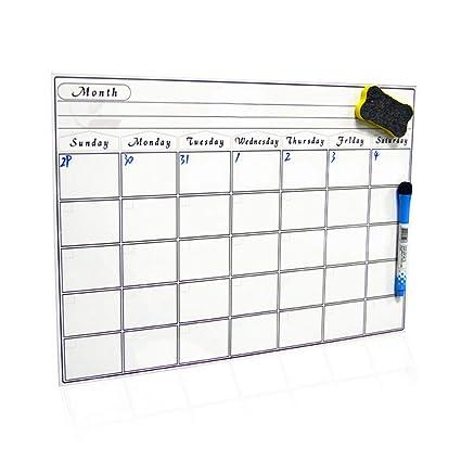 Calendario de pizarra magnética de 30 x 42 cm, pizarra de borrado en seco para frigorífico, cocina y oficina. Elegante planificador negro de diseño ...