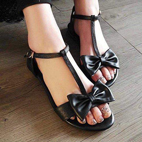 COOLCEPT Damen Mode-Event T-Spangen Sandalen Open Toe Flach Schuhe Mit Bogen Schwarz
