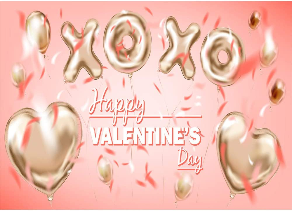 Happy Valentines Day Backdrop Photography 7x5 Gold Balloons Light Pink Photo Background for Valentines Day Vinyl Photographic Studio Backgrounds