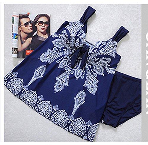 Niseng Mujer Trajes De Baño Ropa Tallas Grandes Una Pieza Falda Y Pantalones Cortos Conjuntos azul