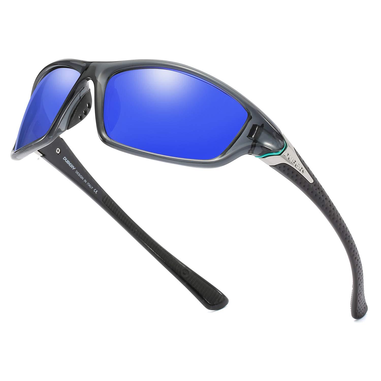 DUBERY Polarized Fishing Sunglasses for Men Women Ultra Light Outdoor Sports Driving Sunglasses UV400 Protection D120 (Gray/Dark Blue) by DUBERY