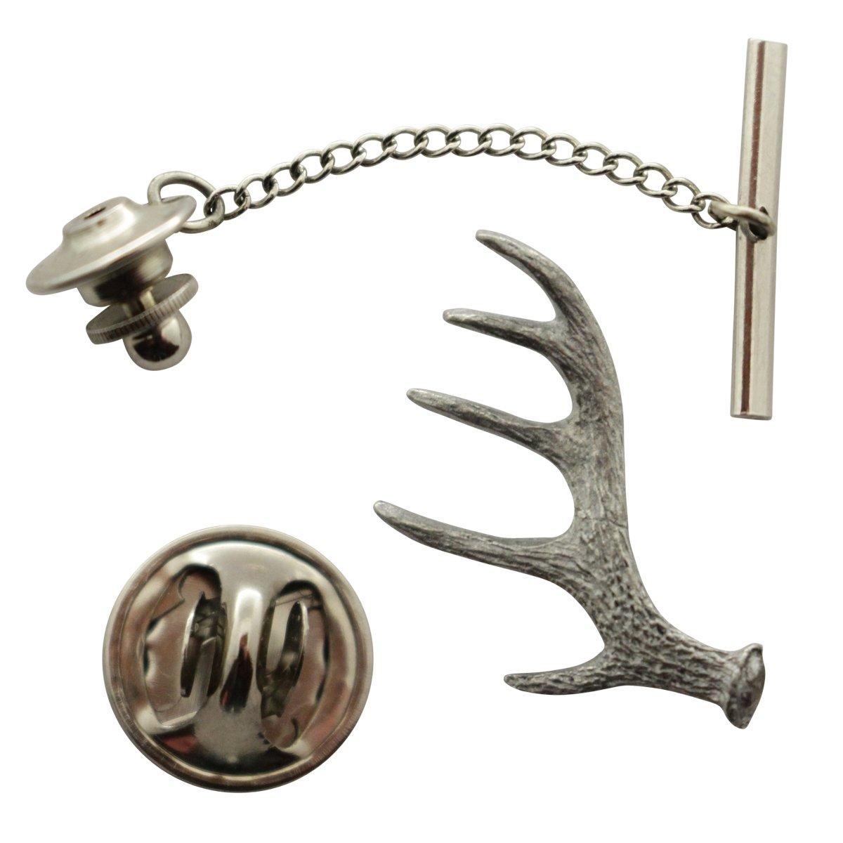 Antler Shed Tie Tack ~ Antiqued Pewter ~ Tie Tack or Pin ~ Sarah's Treats & Treasures