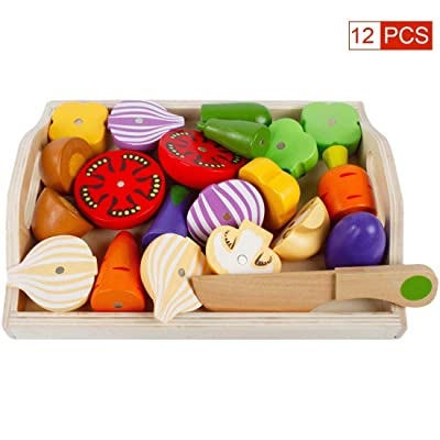 FenglinTech Play Food for Kids Kitchen, 12PCS Wood Pretend Food Fruit and Vegetable for Toddlers: Toys & Games