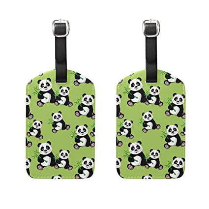 0759bbafdfdc Amazon.com | Set of 2 Luggage Tags Cute Panda Bamboo Suitcase Labels ...