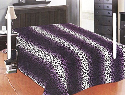 Mk Home Microfleece Throw Blanket Light Weight (Queen, Purple Leopard) (Print Queen Size Blanket Animal)
