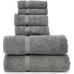 Luxury Hotel & Spa Towel Turkish Cotton Bath Towel Bundle (Gray, 6-Piece Towel Set)