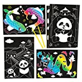 Baker Ross Chinese Scratch Art Scenes Creative Craft Set for Children to Design Decorate and Display (Pack of 6)