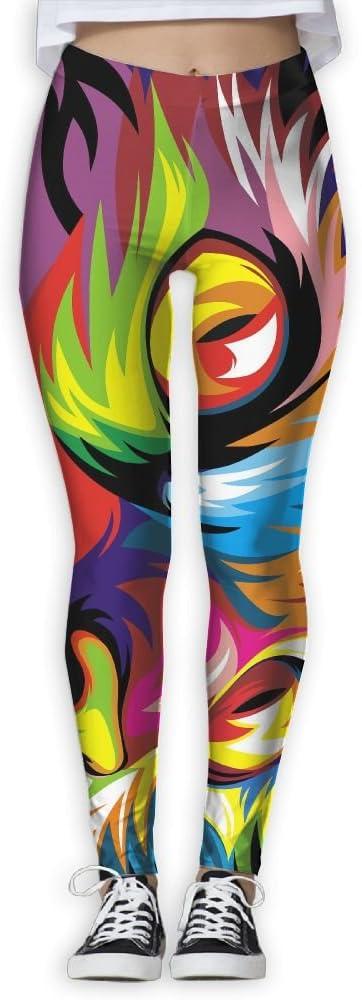 ZGZGZ Womens Rainbow Color Wolf Printed Yoga Pants Workout Capris Lightweight Yoga Leggings