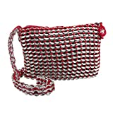 NOVICA Soda Pop-top Cosmetics Shoulder Bag, 'Chic Red'