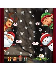 UMIPUBO Natale Adesivi Porta Natale Vetrofanie Addobbi Rimovibile Adesivi Statico Fai da te Finestra Sticker Decorazione Babbo Natale Vetrina Wallpaper Adesivi (Natale)