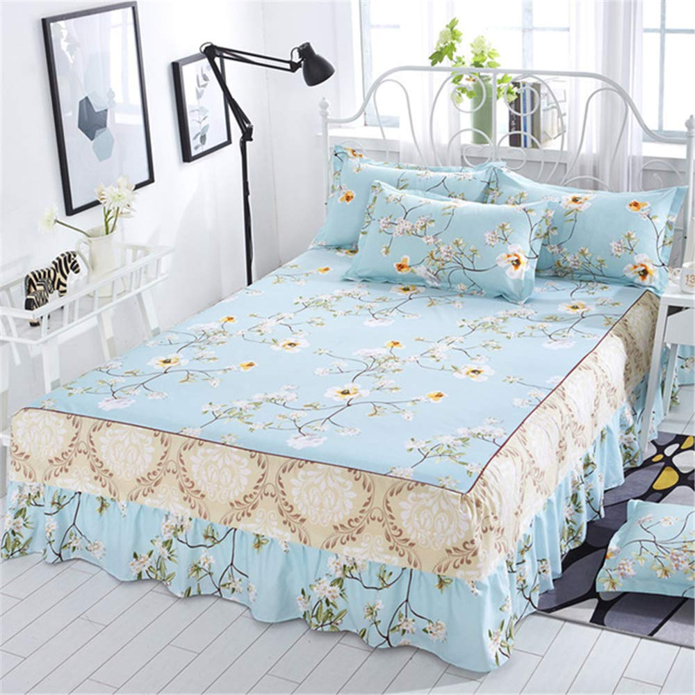 FENGDONG Bed Cover Bed Cover Bed Skirt Single Piece Princess Bed Cover Bed Sheet by FENGDONG