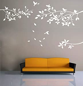 KiKi Monkey Elegant Tree and Birds Wall Decal Art Branch Wall Sticker Living Room Decoration (White, XL)