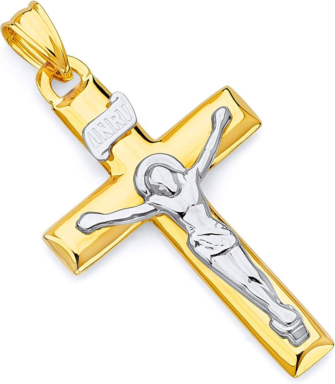 14K Yellow and white gold 2 tone Crucifix Cross Religious Pendant
