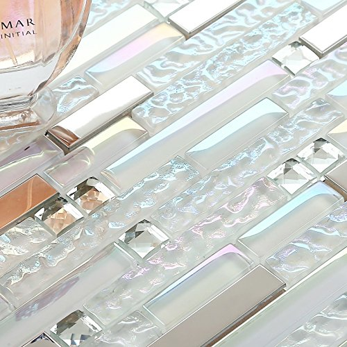 New White Interlocking Backsplash Glass Tile Iridescent Kitc