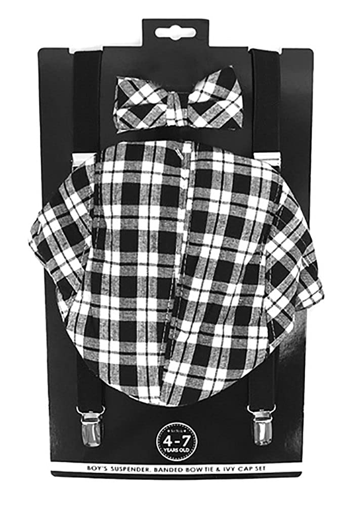 Selini Boys' Formal Set Including Ivy Cap, Suspenders, and Matching Bow Tie, Ages 4-7 Black Plaid