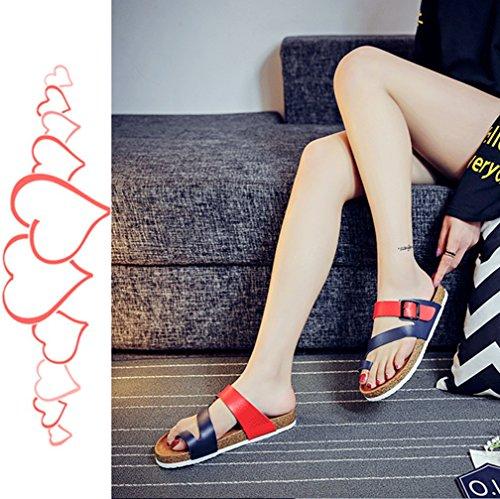 Mujer Clip Toe Sandalias Playa Zapatos Planas Sandalias Verano de plataforma cómodos zapatos de damas Azul rojo