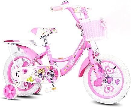 Xiaoping Bicicleta para niños, Bicicleta de niña de 3-8 años, 14 Pulgadas, Rosa con Asiento Trasero: Amazon.es: Deportes y aire libre