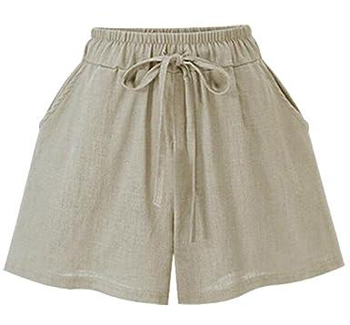 c616c7e13c BYWX Women s Summer Linen Cotton Plus Size Loose Fit Casual Hot Short at  Amazon Women s Clothing store