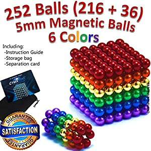 6 Rainbow Colors 5mm 252 pieces 216pcs + 36pcs Magnetic Balls Building Blocks Sculpture Magnets Educational game Toy Intelligence Development Relaxing Stress Relief Imagination gift 216 pcs +36pcs set
