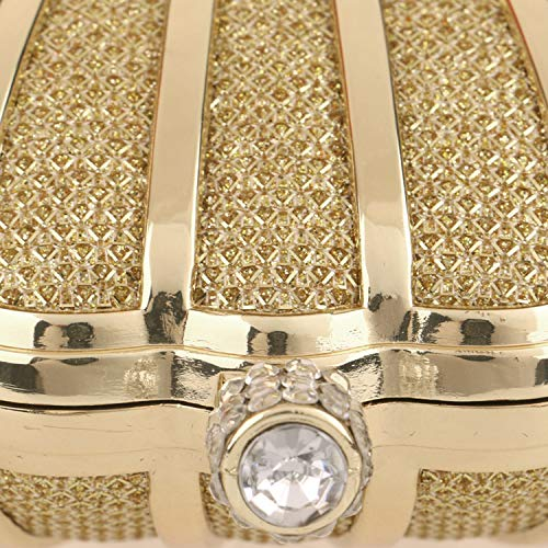 Women Evening Metal Handbag With Cocktail Party Strap For Frame Case Hard Chain Black Clutch Wedding rrqRd