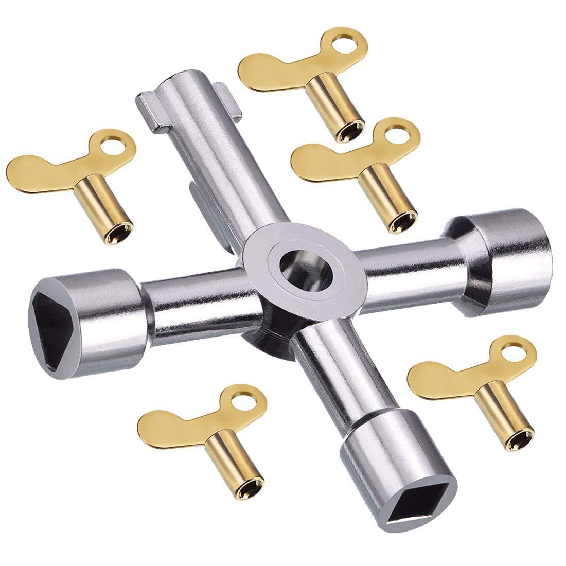 Assortiment de clés de purge pour radiateur Multicolore, 6 clés utilitaires en vrac pour assortiment d'atelier, multifonctions pour kit de clé d'ouverture de meuble de compteur de gaz d'eau électrique Vidillo