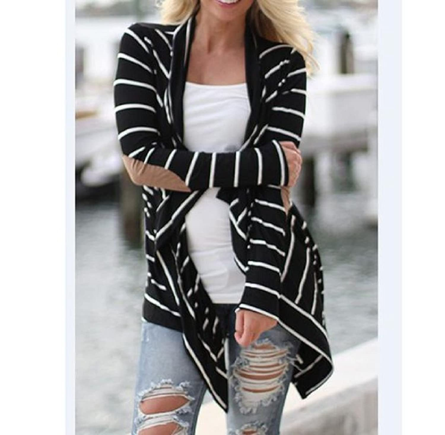 Rukiwa Women Casual Long Sleeve Striped Cardigans Patchwork Outwear