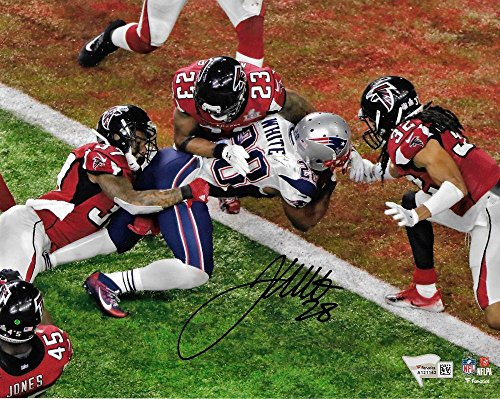 Nfl Autographed Super Bowl (Signed James White Picture - Super Bowl 16x20 GW TD FANATICS - Fanatics Authentic Certified - Autographed NFL Photos)