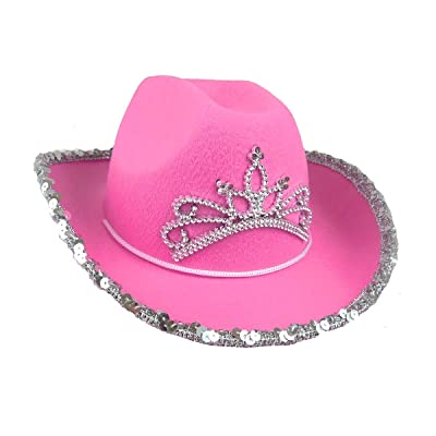 Rhode Island Novelty Child Pink Cowboy Hat with Blinking Tiara (1-Pack): Toys & Games
