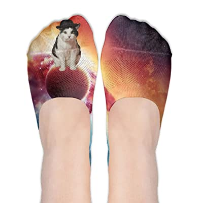 Space Cat Wallpaper Lovers DIY Printed Pattern Soft Low Cut Socks No-show Liner Invisible Polyester Cotton Sock For Girls (One Pair)