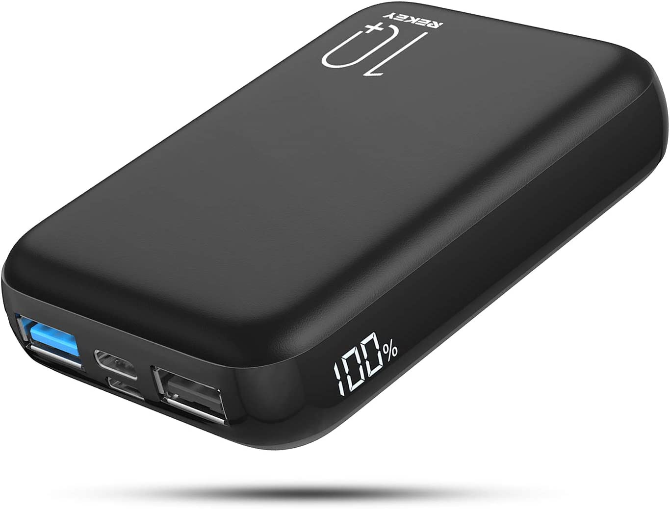 Power Bank 10000mAh Battery Backup Portable Charger with Actual Dual Inputs and Dual Outputs, Battery Pack with Visible LCD Screen, External Battery for iPhone,Samsung Galaxy,ipad and More.