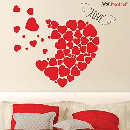 Buy Wallmantra Vinyl Heart Romantic Wall Sticker 76 X 63 Cm Online