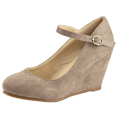 Cambridge Select Women's Mary Jane Closed Round Toe Ankle Strap Buckle Platform Wedge | Flats