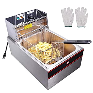 WeChef 6L 2500W Countertop Electric Single Large Tank Deep Fryer Basket French Fry Commercial Restaurant Kitchen Home
