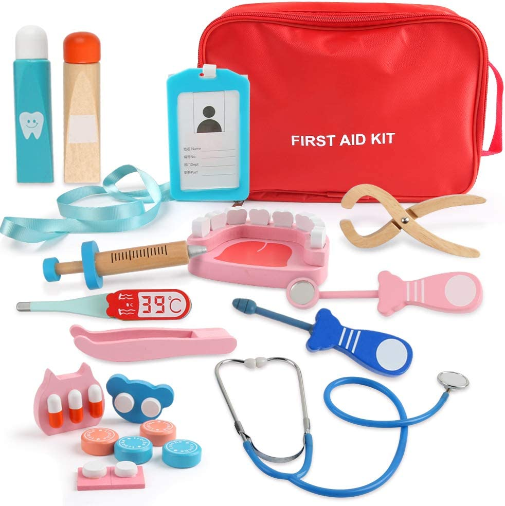 Medical kits Boys and Girls Doctor Role Play Wood Tool Kit Suit Complete Set