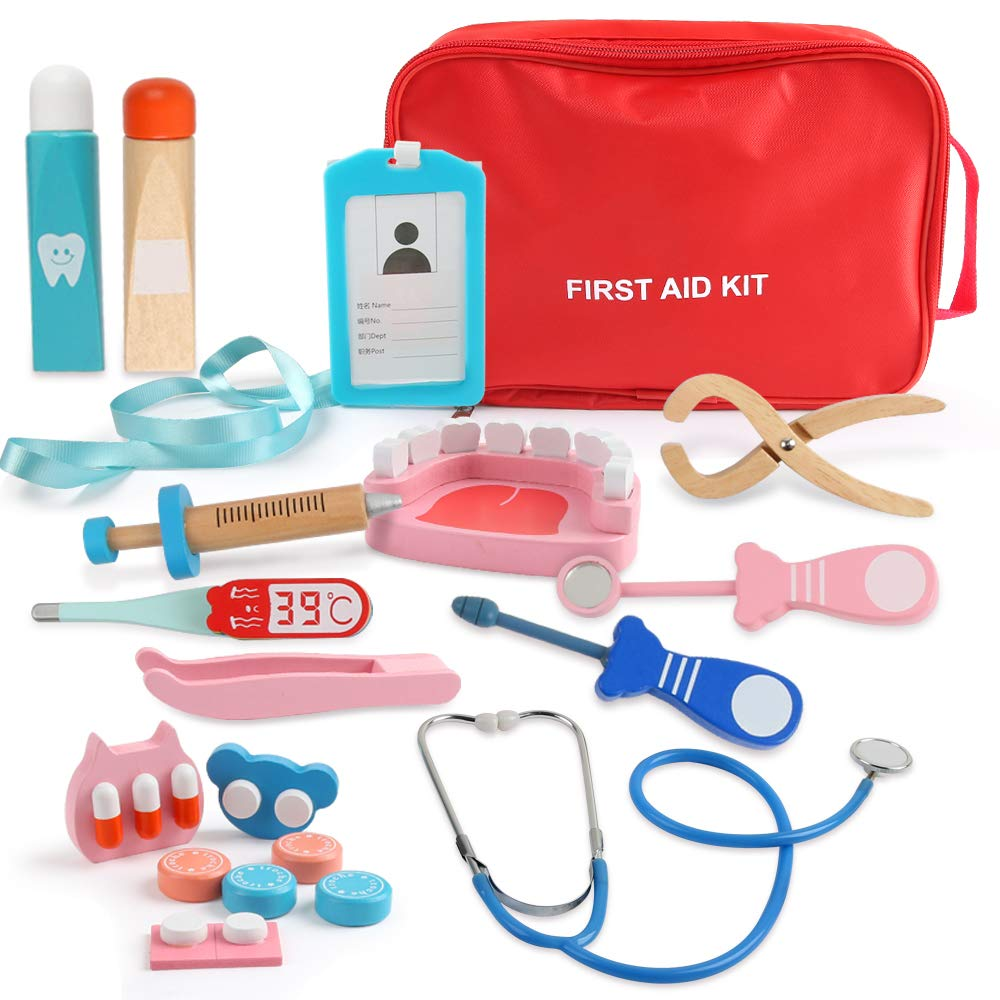 Beebeerun Role Play Doctor Kit for 4 5 6 7 8 Kids Girls Boys,Pretend Play Wooden Medical Kit Set,19 PCS with a Medical Carry Bag by Beebeerun