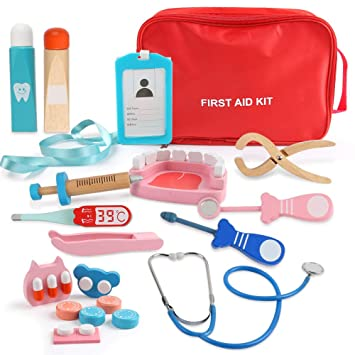 Beebeerun Role Play Doctor Kit For 4 5 6 7 8 Kids Girls Boys Pretend Play Wooden Medical Kit Set 19 Pcs With A Medical Carry Bag