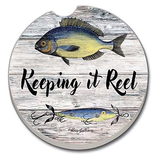 (CounterArt Absorbent Stoneware Car Coaster, Keeping it Reel-Fish and Lure)